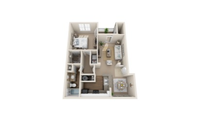Hummingbird - 1 bedroom floorplan layout with 1 bath and 799 to 810 square feet