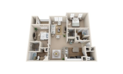 Sandhill Crane - 2 bedroom floorplan layout with 2 bath and 1287 to 1301 square feet