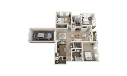 Blue Heron - 3 bedroom floorplan layout with 2 bath and 1476 square feet