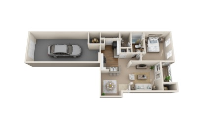 Meadowlark - 1 bedroom floorplan layout with 1 bath and 866 to 879 square feet