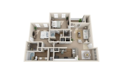 Seaside Sparrow - 2 bedroom floorplan layout with 2 bath and 1223 to 1275 square feet