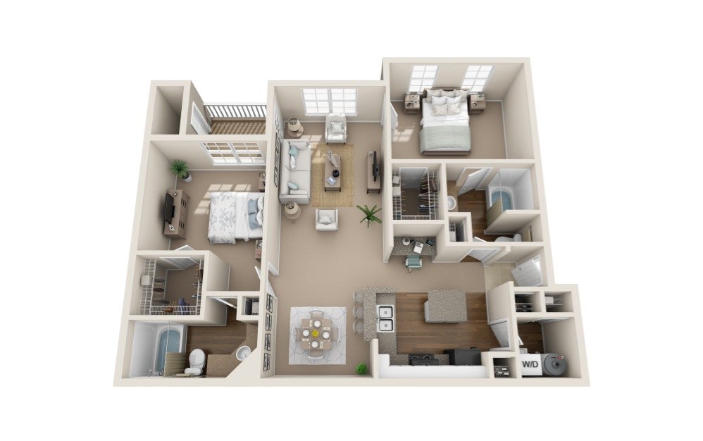 Sandhill Crane - 2 bedroom floorplan layout with 2 bath and 1287 to 1301 square feet (1st floor 2D)