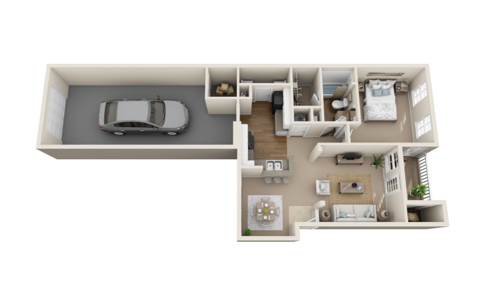 Meadowlark w/ Garage - 1 bedroom floorplan layout with 1 bath and 891 square feet (1st floor 2D)