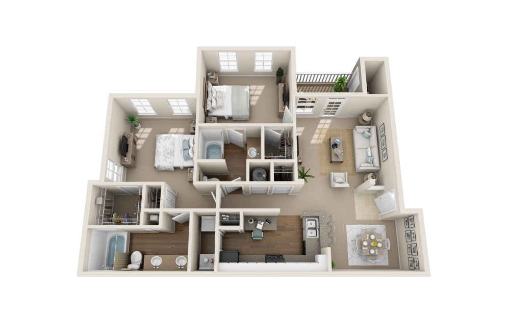 Seaside Sparrow - 2 bedroom floorplan layout with 2 bath and 1223 to 1275 square feet (1st floor 2D)